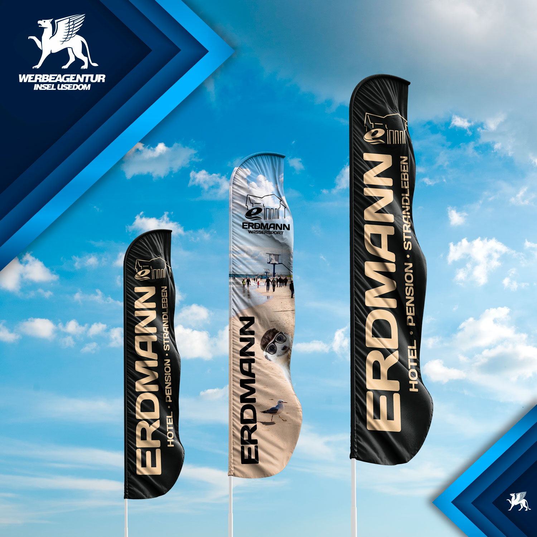Beachflags für die Erdmann&Erdmann GbR